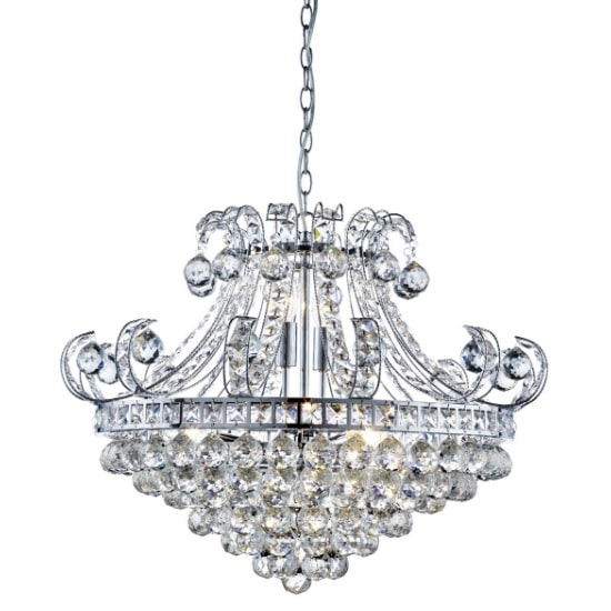 Bloomsbury 6 Light Chandelier In Chrome And Clear Crystal