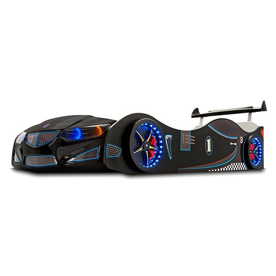 BMW GTI Childrens Car Bed In Black With Spoiler And LED_2