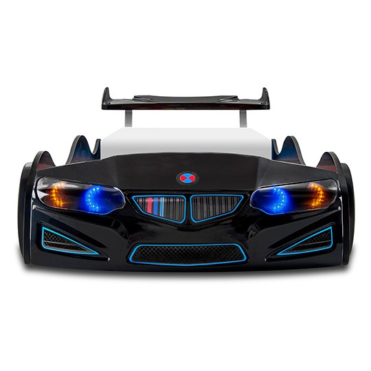 BMW GTI Childrens Car Bed In Black With Spoiler And LED_4