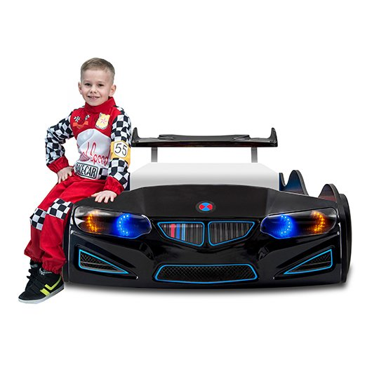 BMW GTI Childrens Car Bed In Black With Spoiler And LED_5