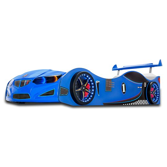 BMW GTI Childrens Car Bed In Blue With Spoiler And LED_2