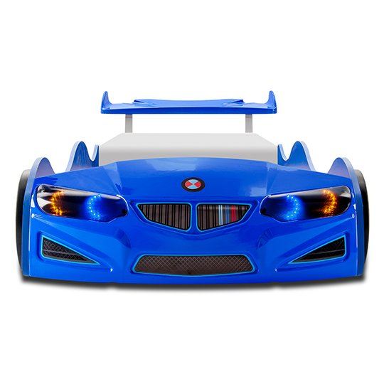 BMW GTI Childrens Car Bed In Blue With Spoiler And LED_5