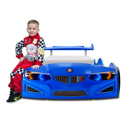 BMW GTI Childrens Car Bed In Blue With Spoiler And LED_6