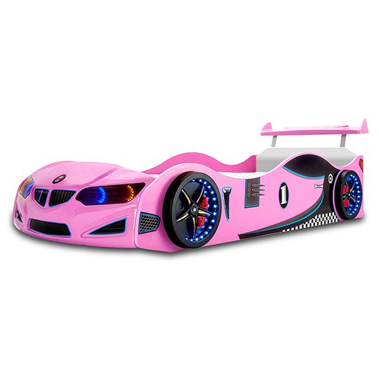 BMW GTI Childrens Car Bed In Pink With Spoiler And LED_1
