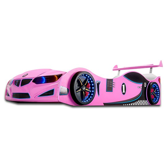 BMW GTI Childrens Car Bed In Pink With Spoiler And LED_2