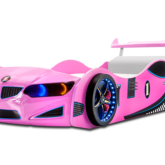 BMW GTI Childrens Car Bed In Pink With Spoiler And LED_3