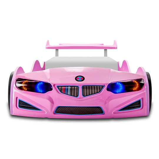 BMW GTI Childrens Car Bed In Pink With Spoiler And LED_4