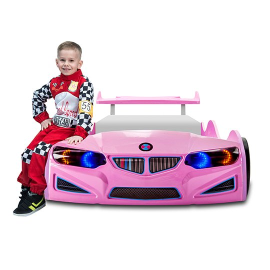BMW GTI Childrens Car Bed In Pink With Spoiler And LED_5