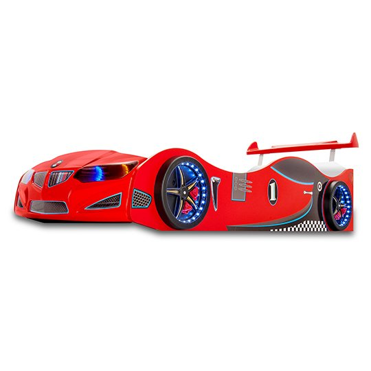 BMW GTI Childrens Car Bed In Red With Spoiler And LED_2
