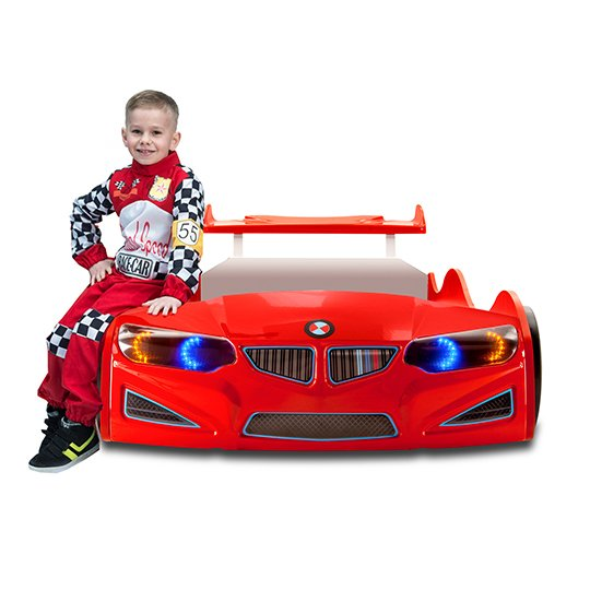 BMW GTI Childrens Car Bed In Red With Spoiler And LED_5