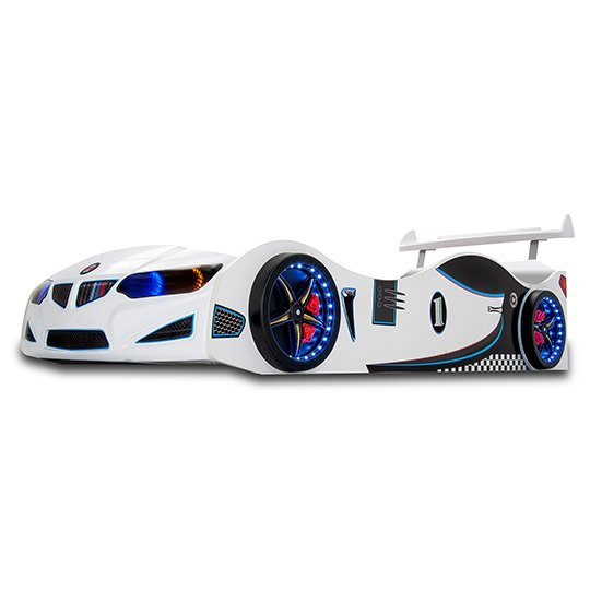 BMW GTI Childrens Car Bed In White With Spoiler And LED_1
