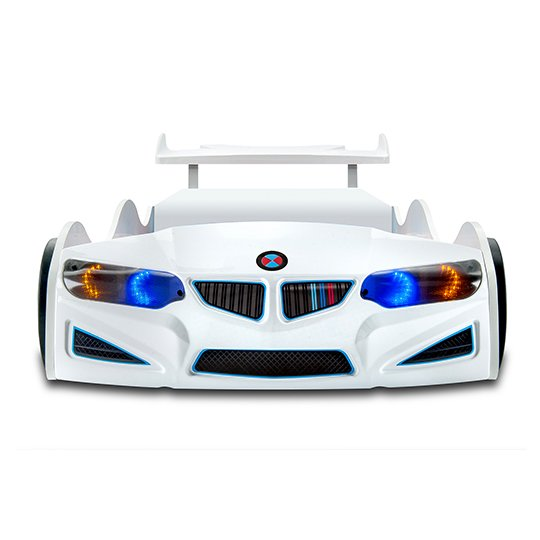 BMW GTI Childrens Car Bed In White With Spoiler And LED_3