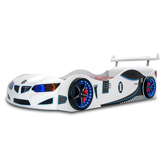 BMW GTI Childrens Car Bed In White With Spoiler And LED