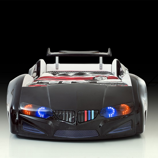 Bmw Childrens Car Bed In Black With Led Lighting And