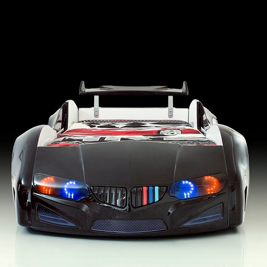 BMW Childrens Car Bed In Black With LED Lighting And Spoiler_3