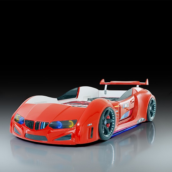 BMW Childrens Car Bed In Red With LED Lighting And Spoiler_1