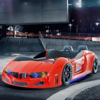 BMW Childrens Car Bed In Red And LED With Leather Seats_1