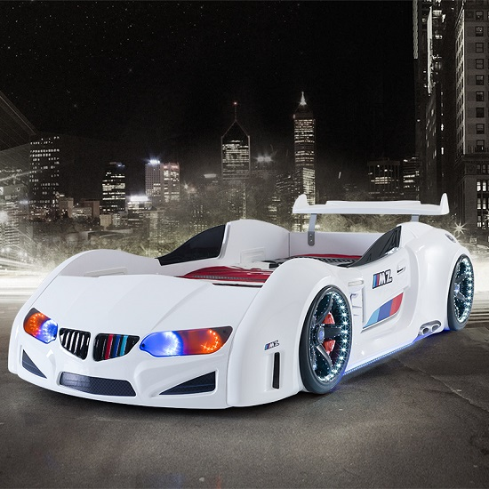 BMW Childrens Car Bed In White With LED Lighting And Spoiler