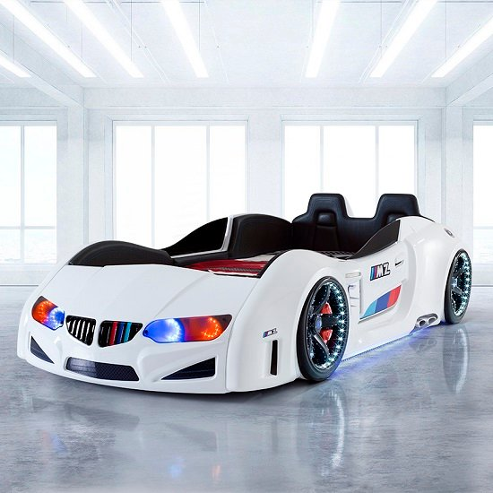 BMW Childrens Car Bed In White With LED And Leather Seats_1