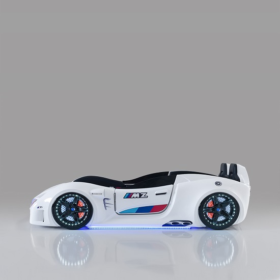 BMW Childrens Car Bed In White With LED And Leather Seats_5
