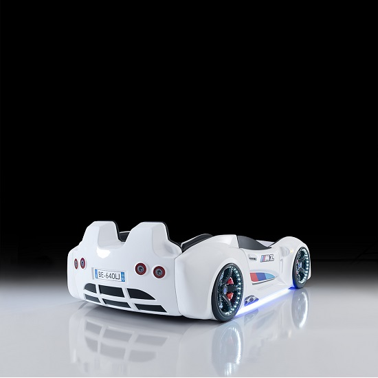 BMW Childrens Car Bed In White With LED And Leather Seats_3