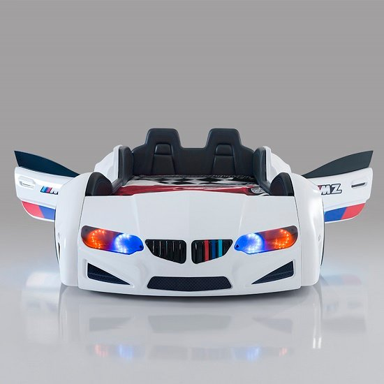 BMW Childrens Car Bed In White With LED And Leather Seats_2