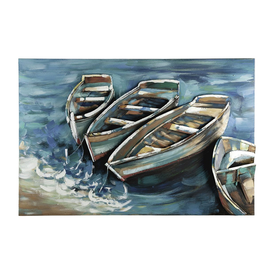 Boat on Shore Picture Metal Wall Art In Blue And Brown_2