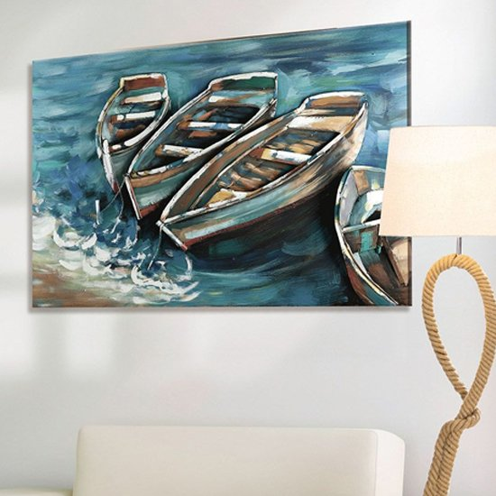 Boat on Shore Picture Metal Wall Art In Blue And Brown_1