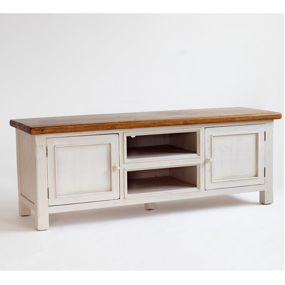 Etonnant Boddem Tv Cabinet In White Pine 2 Doors And Shelf