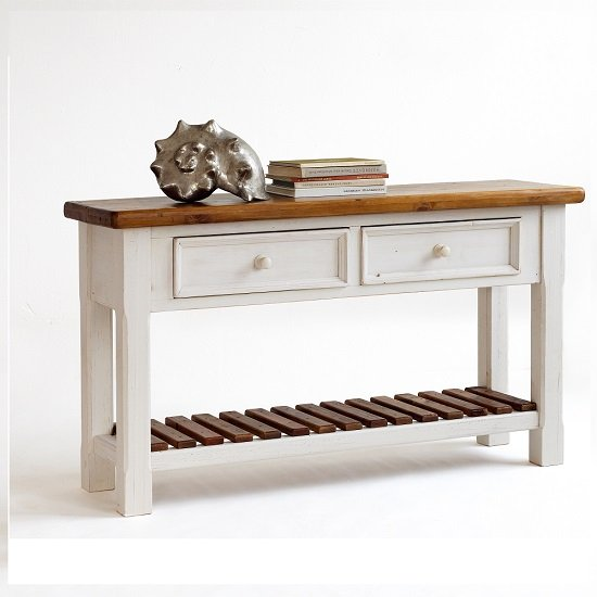 boddem console table white pine cottage style 25346 rh furnitureinfashion net cottage style console tables cottage oak console table