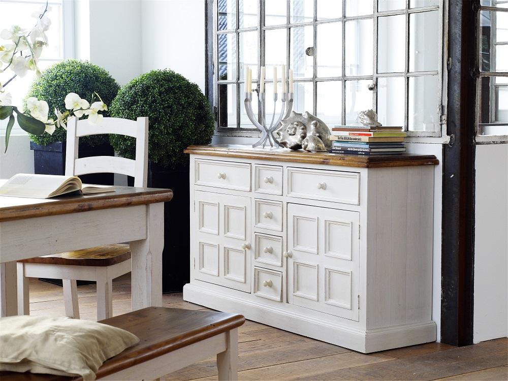 Boddem Sideboard in White Pine 6 Drawers 2 Cupboard