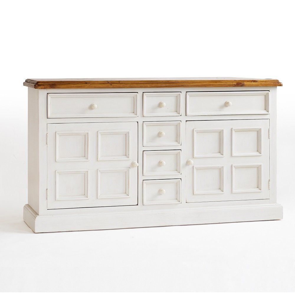 Boddem sideboard in white pine 6 drawers 2 cupboard 25344 for Cupboard and drawers