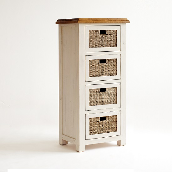 Boddem Tallboy Chest Of 4 Drawes White Pine And Rattan