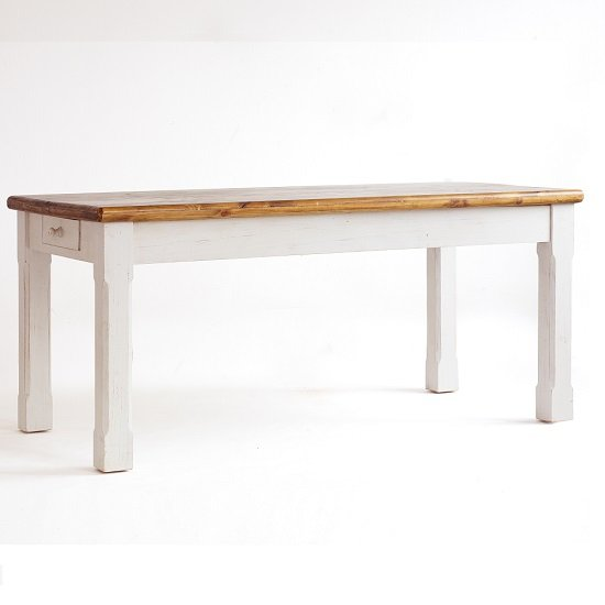 Boddem Dining Table In White Pine Cottage style