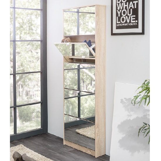 Boddem Mirrored Shoe Cabinet In Sonoma Oak With 5 Flap Doors