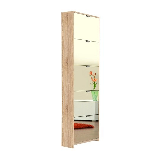 Boddem Mirrored Shoe Cabinet In Sonoma Oak With 5 Flap Doors_2