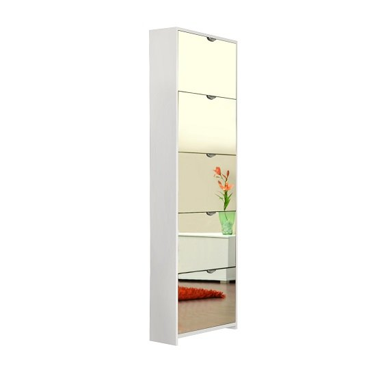 Boddem Mirrored Shoe Cabinet In White With 5 Flap Doors