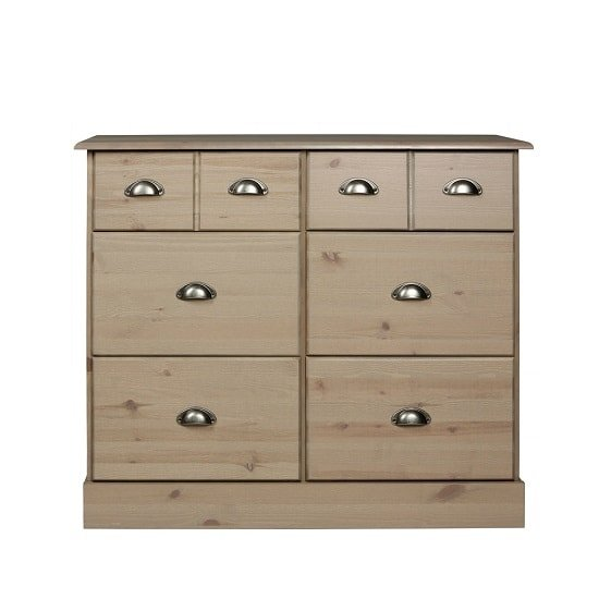 Boden Chest Of Drawers Wide In Stone Grey With 4+2 Drawers