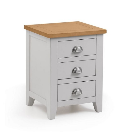 Bohemia Wooden Bedside Cabinet In Grey With 3 Drawers