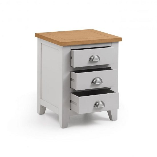 Bohemia Wooden Bedside Cabinet In Grey With 3 Drawers_2