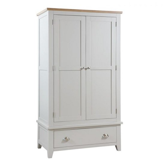 Bohemia Wooden Wardrobe In Grey With 2 Doors And 1 Drawer