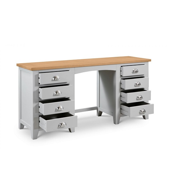 Bohemia Wooden Pedestal Dressing Table In Grey With 8 Drawers_2