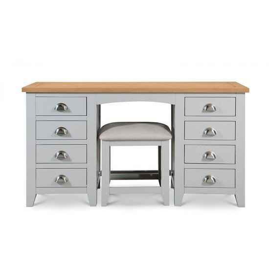 Bohemia Wooden Pedestal Dressing Table In Grey With 8 Drawers_4