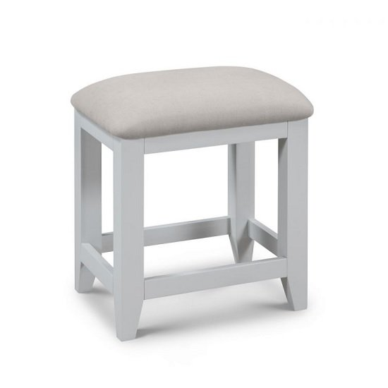 Bohemia Wooden Dressing Table Stool In Grey With Padded Seat