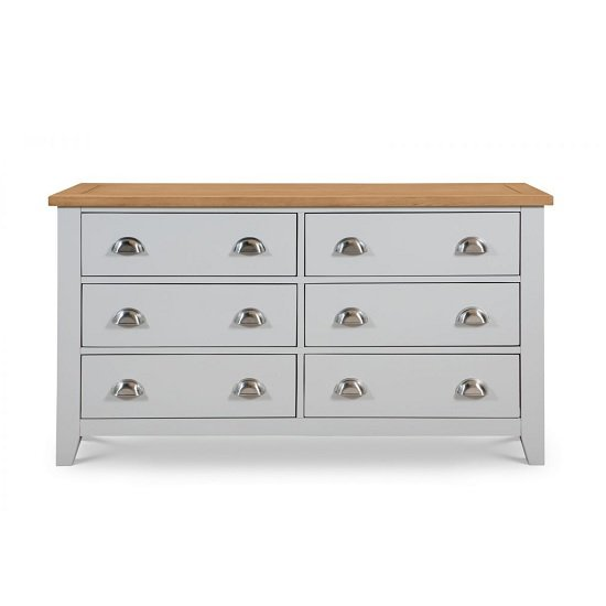 Bohemia Wooden Chest Of Drawers Wide In Grey With 6 Drawers_2