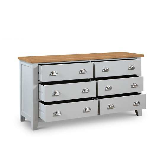 Bohemia Wooden Chest Of Drawers Wide In Grey With 6 Drawers_3