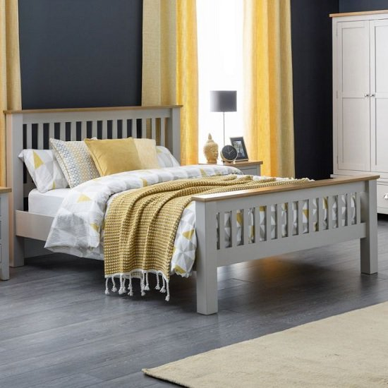 Bohemia Contemporary Wooden King Size Bed In Grey