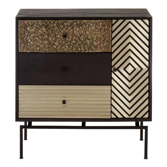 View Algieba 3 drawers mango wood cabinet with metal legs