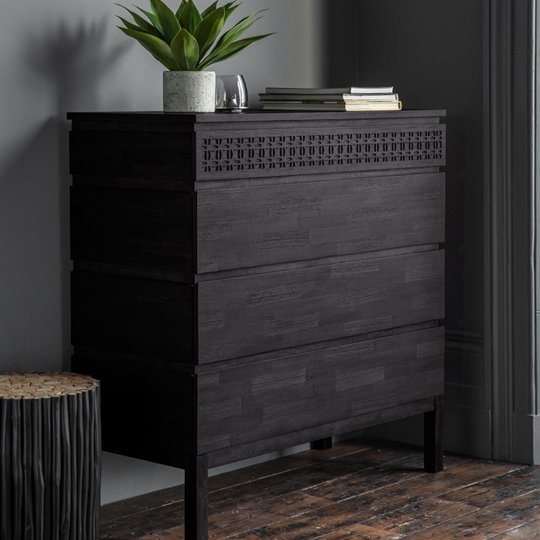 Boho Boutique Chest Of Drawers In Matt Black Charcoal