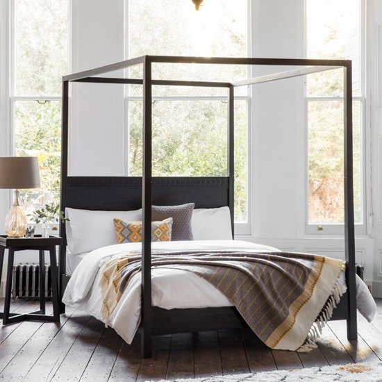 Boho Boutique King Size Bed In Matt Black Charcoal
